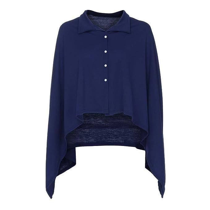 Yvelands Mujeres Abrigos Tops Sólido Botón de Manga Larga Camiseta Irregular Cloak Overcoat Jacket(Azul