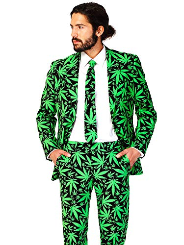 OppoSuits Men's Cannaboss Party Costume Suit, Black/Green, 44 ()