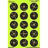 25 pack - 12 x 18 inch - 3 inch Bullseye Splatterburst Reactive Shooting Target - Shots Burst Bright Fluorescent Yellow Upon Impact - Gun - Rifle - Pistol - AirSoft - BB Gun - Pellet Gun - Air Rifle