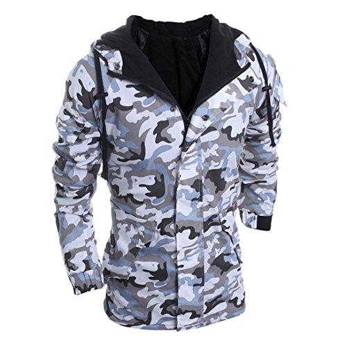 Sinzelimin Autumn Winter Men's Hoodie Sweatshirt Long Sleeve Camouflage Wind Men Hooded Coat Blouse Pullover (Gray, XL) by Sinzelimin