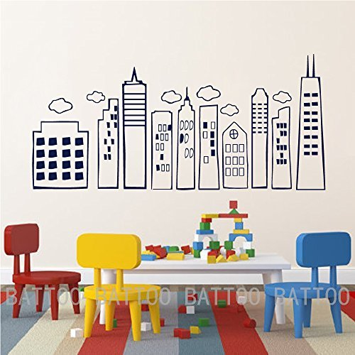 - Yoyocoa Kids Doodled City Skyline -Whimsical Wall Art Vinyl Decal for Kid's Rooms Play Rooms Bedrooms Schools Libraries(Black, 21.5