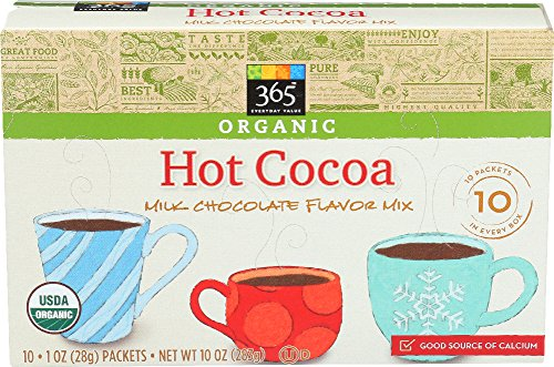 365 Everyday Value, Organic Hot Cocoa, Milk Chocolate Flavor Mix (10 - 1 oz Packets), 10 oz (Best Organic Hot Cocoa)