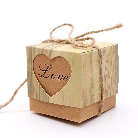 Caja de regalo de papel para manualidades, 50 unidades de mini caja de dulces de
