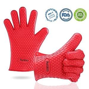 Más grueso de silicona para asar barbacoa guantes–resistente al calor antideslizante guantes de horno de cocina guantes de cocina para cocinar, fumar, salvamanteles, sin BPA, fácil de desmontar y limpiar