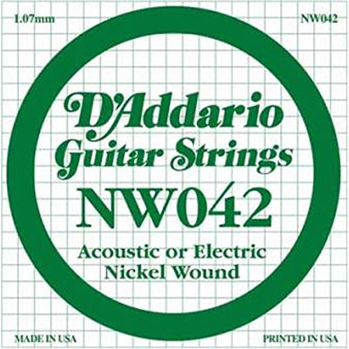 D'Addario NW042 Nickel Wound Electric Guitar Single String, .042 ()