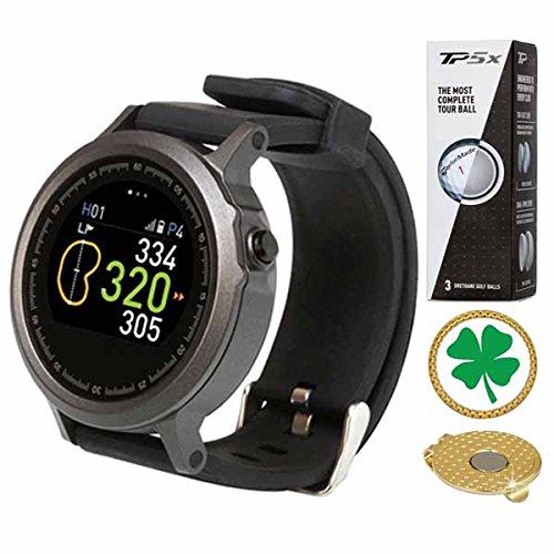 AMBA GolfBuddy WTX Golf GPS/Rangefinder Smart Watch (40k+ Preloaded Worldwide Courses) Bundle with 1 Sleeve (3 Balls) Taylormade TP5X and Magnetic Hat Clip Ball Marker (Four Leaf Clover)