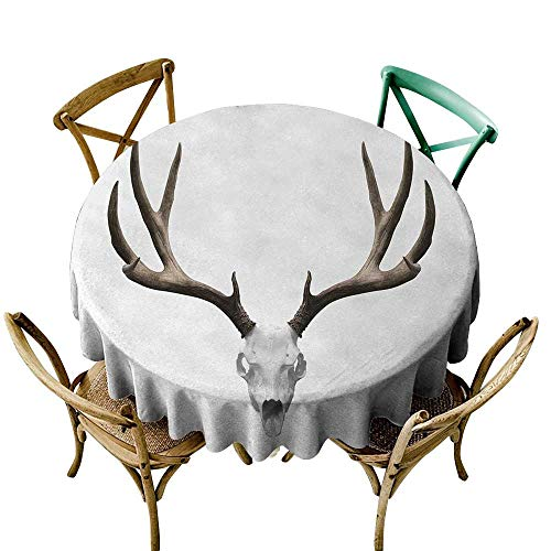 Wendell Joshua Black Tablecloth 36 inch Antlers,A Deer Skull Skeleton Head Bone Halloween Weathered Hunter Collection,Warm Taupe Light Grey Great for Buffet Table, Parties, Holiday Dinner & More -