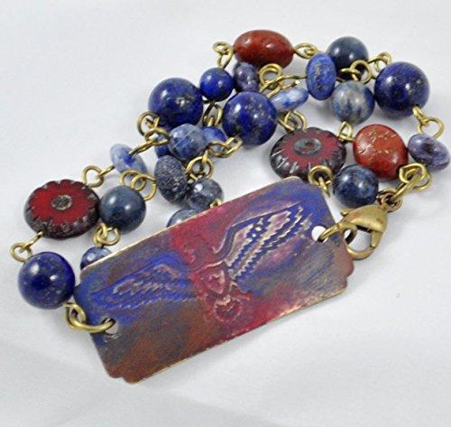 Patriotic Beaded Bracelet (Red and Blue Stamped Metal Eagle Bracelet Patriotic)
