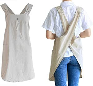 losofar Soft Cotton Linen Apron Cross Back X-Shaped Japanese Style Pinafore Dress for Cooking, Housewarming, Daily Chores (Khaki, (28.3