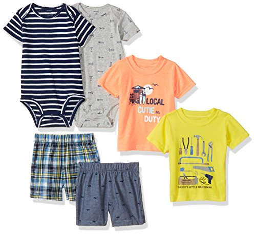 Carter's Baby Boys' 6-Piece Bodysuit Tee and Short Set, Tools / Cutie, 18 Months