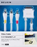 Belkin Easy Share Play - Cable conector AV para Apple IPhone/iPod (1.2 metros, Apple 30-pin), blanco