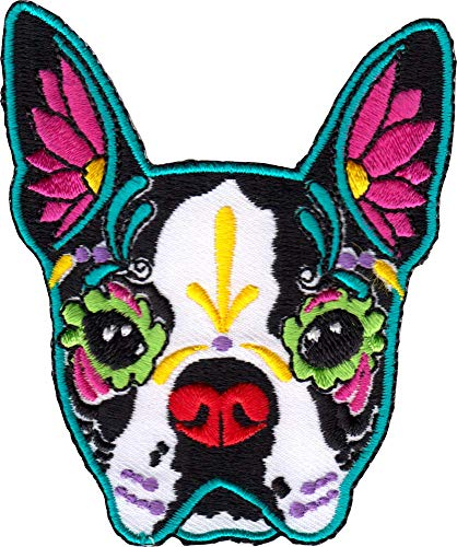 Day of The Dead Sugar Skull Dog - Boston Terrier - Cut Out Embroidered Iron On or Sew On Patch