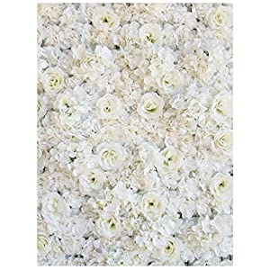 "PROPHOTOCONNECT 48""X 96"" Artificial Silk Rose Flower Wall Background Wedding Party Decor White 13"