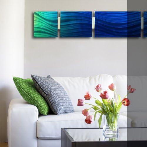 Ocean Mist Modern Abstract Metal Wall Art Sculpture Blue Painting Home Decor