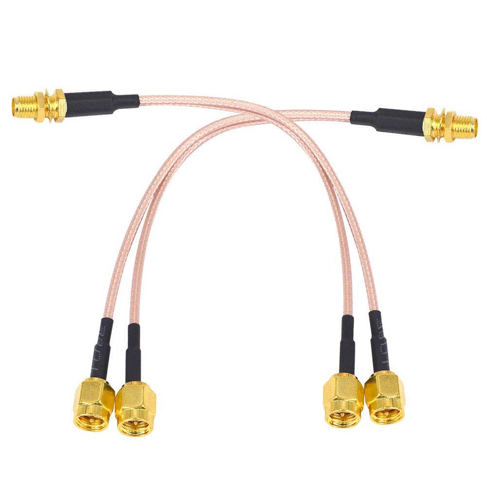 YILIANDUO - Cable coaxial de antena WiFi SMA hembra a tipo Y 2 SMA macho divisor recto de extensión de cable coleta RG316 15 cm/5,9 pulgadas para ...