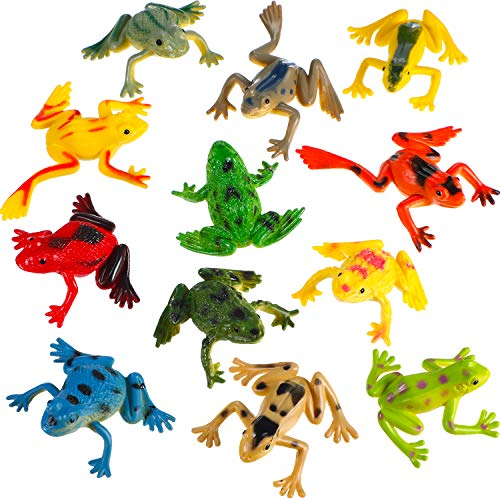 24 Pieces Plastic Frogs Mini Vinyl Frogs Assorted Frogs Figure Fun Toys Rainforest Character Toys for Boy Girl