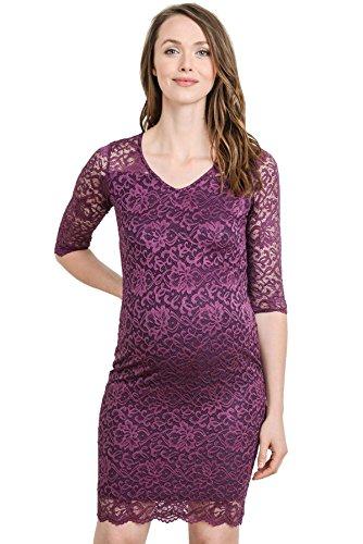 (Hello MIZ Women's Maternity Floral Lace Knee Length Bodycon Dress (Small, Purple))