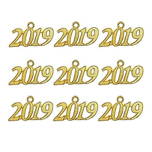Gold Color Signet 2019 Year for Graduation Tassel, Charms Pendants DIY, Bracelet and Necklace, 9 Pcs