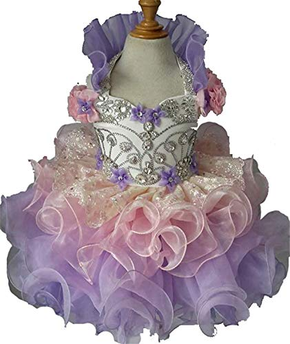 Junguan Baby Girls Halter Chiffon Short Ball Gowns Cupcake Pageant Dresses 5 US Pink ()