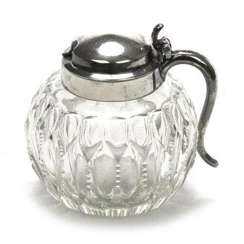 Mustard Pot, Silverplate/Glass, Zipper Glass