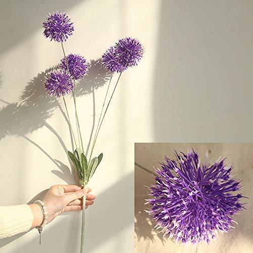 (Fine Artificial Silk Fake Flowers Dandelion Floral Wedding Bouquet Hydrangea Decor (Purple))