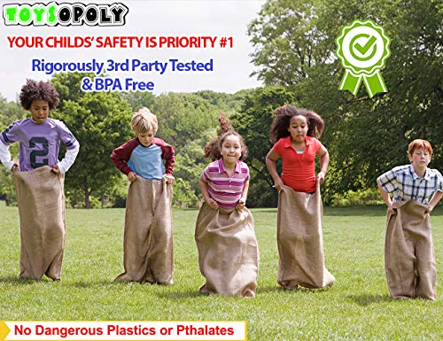 ToysOpoly Premium Burlap Potato Sack Race Bags 24'' x 40'' (Pack of 6) - of Sturdy Rugged, 100% Natural Eco-Friendly Jute | Perfect Birthday Party Game for Kids & Adults by ToysOpoly (Image #3)