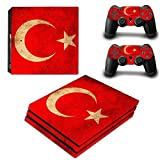 Chickwin PS4 Pro Vinyl Skin Full Body Cover Sticker Decal For Sony Playstation 4 Pro Console and 2 Dualshock Controller Skins (Flags Turkey)