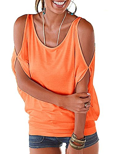 (Summer T Shirt Women Short Sleeve Cold Shoulder Loose Fit Pullover Casual Top(Orange, L) )