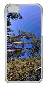 LJF phone case Customized iphone 4/4s PC Transparent Case - Trees And Blue Sky Personalized Cover
