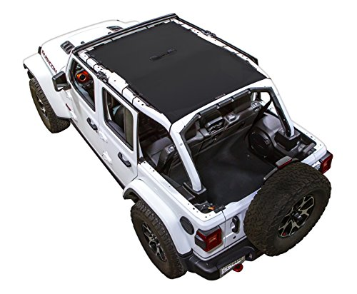 SPIDERWEBSHADE Jeep Wrangler JL Mesh Shade Top Sunshade UV Protection Accessory USA Made with 5 Year Warranty for Your JL 4-Door (2018 - current) in Black