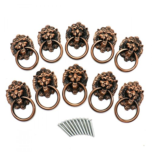 HUELE 10pcs Vintage Lion Head Knobs Cabinet Handles Furniture Door Hardware Handles Cupboard Closet Drawer Pulls (Bronze) by HUELE