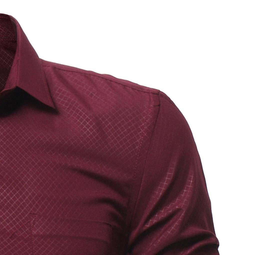 Herren Langarm Shirt Bluse Vintage Lange Retro Lässig Schlank Hemd Top Oberteile