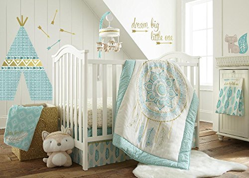 Levtex Baby Little Feather Aqua 5 Piece Crib Bedding Set, Quilt, 100% Cotton Crib Fitted Sheet, 3-tiered Dust Ruffle, Diaper Stacker and Large Wall ()
