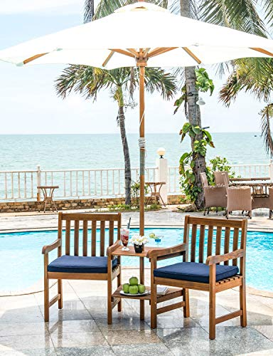 Living Essentials Outdoor Furniture Patio Tete a Tete Garden Bench with Umbrella Hole | 2 in 1 Jack and Jill Chairs Bistro Set | Acacia Wood with Teak Finish | Water Resistant Cushions in Navy Blue