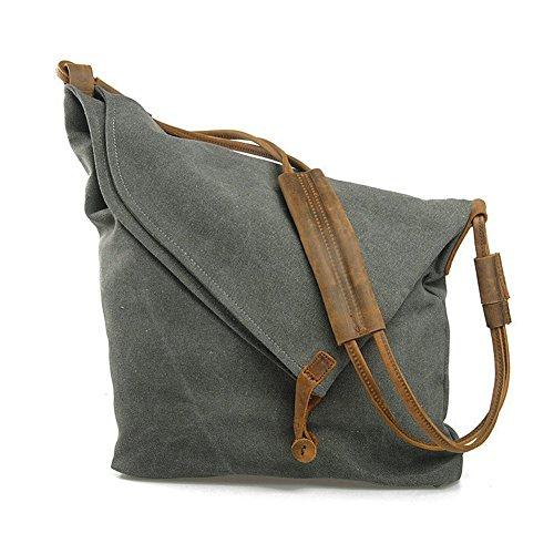 Minetom Femme Homme Unisexe Rétro Style sac à bandoulière fourre tout en toile et cuir Sacs Mode Gris