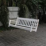 Delahey Wood Outdoor Porch Swing, White