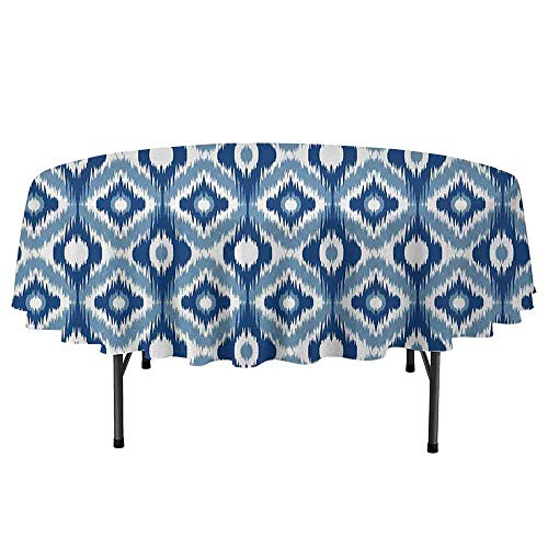 (Douglas Hill Ikat Easy to Care for Leakproof and Durable Round tablecloths Ethnic Ikat Design with Regular Multi Shaft Loom Uneven Twill Trend Motif Outdoor Picnic D67 Inch Dark Blue and White )