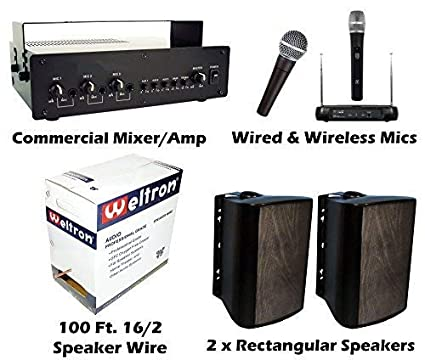 KIT Outdoor PA Sound System Bundle Baseball Field Stadium Horse Arena Easy  Install Speakers Wireless Mic Microphone Softball Race Track Public Address