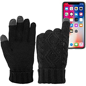 DG Hill Warm Texting Gloves For Women, Cable Knit Touchscreen Winter Text Gloves Cute & Cozy Fleece Lining Black One Size