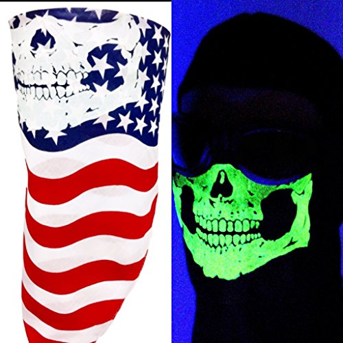 American Made Red White Blue USA Flag Half Face Bandana Mask Glow In The Dark Skull Adjustable Close Reversible Motorcycle Neck Shield Headwrap ChopTop Wind Dust Sun Protection]()