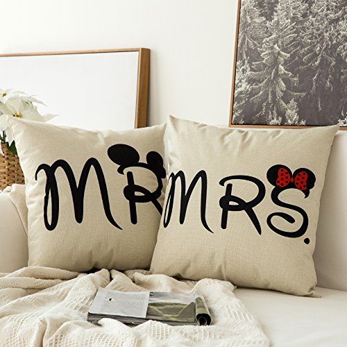 Miulee Pack of 2, Valentine's Day Mr&Mrs Series Cotton Linen Decorative Throw Pillow Case Cushion Cover Pillowcase for Sofa Bed Car 18 x 18 Inch 45 x 45 Cm