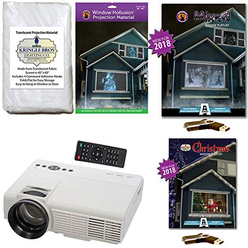 AtmosFearFx Christmas and Halloween Digital Decoration Kit Includes 1200 Lumen Projector, Hollusion (W) + Kringle Bros Rear Projection Screens, Christmas and Mixed Compilation Videos on (Halloween Rear Projection)