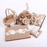 Junxia Natural Burlap Wedding Accessories Guest Book+Flower Basket +Burlap Pillow+Pen Set + Bridal Bouquet for Wedding Decoration
