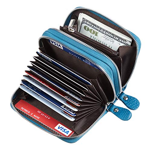 Gostwo Genuine Leather Credit Card Holder with Zipper Womens Card Case RFID Blocking with Zip Around Wallet(Natural Sky Blue)