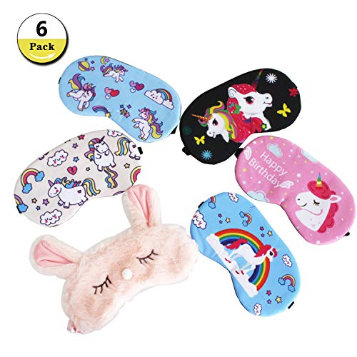 6 Pack Unicorn Sleep Eye Mask Cover Soft Blindfold Sleeping Mask for Kids Women Men by Etyhf
