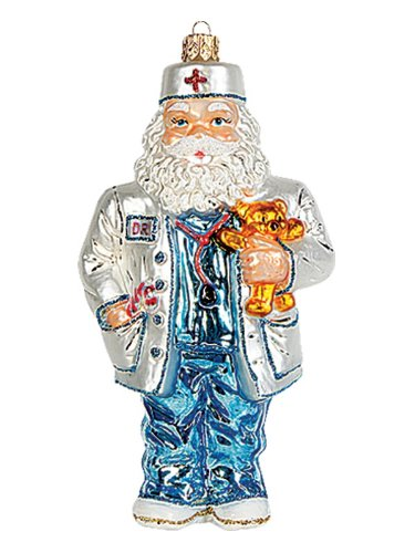 Pinnacle Peak Trading Company Medical Doctor Santa Claus Polish Glass Christmas Ornament Tree Decoration