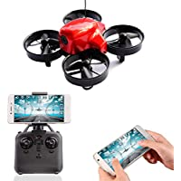 A-parts Mini FPV RC Drone with 0.3 Mega Pixels HD Wifi Camera Live Feed 2.4GHz 4CH 6-Axis Gyro APP Control FPV Quadcopter,Gravity Sensor, Altitude Hold and Headless Mode Helicopter for IOS or Android System, Color Red