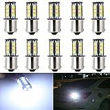 KATUR Super White 1156 BA15S 1141 1095 7506 Base 18 SMD 5050 LED Replacement for Car Incandescence Bulb Interior RV Camper Turn Tail Signal Brake Backup Lamp Parking Side Marker Lights 360 Lumens DC 12V 10-Pack