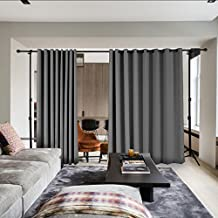 COFTY Privacy Room Divider Curtain For Hospital Ward Clinic Lab SPA Hotel Office Living Room - Anti Bronze Grommet - Grey - 12.5ft Wide x 9ft Height (1 Panel)