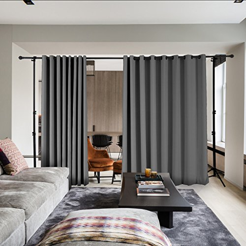 COFTY Privacy Room Divider Curtain For Hospital Ward Clinic Lab SPA Hotel Office Living Room - Anti Bronze Grommet - Grey - 8ft Wide x 8ft Height (1 Panel) by COFTY (Image #10)